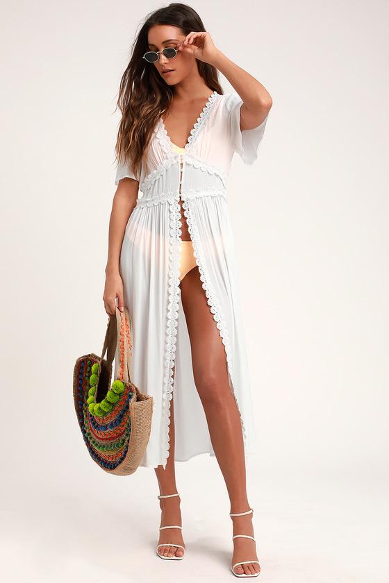 Bay Breeze White Short Sleeve Swim Cover Up Kimono Swim Cover Up Knit Swimwear Swim Cover