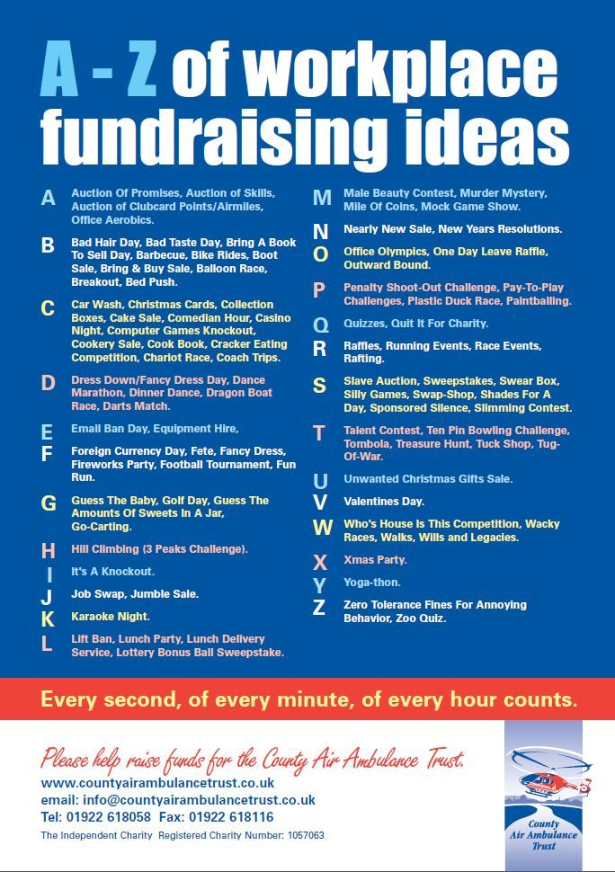 Workplace Fundraising Ideas - Nice list of ideas for ...
