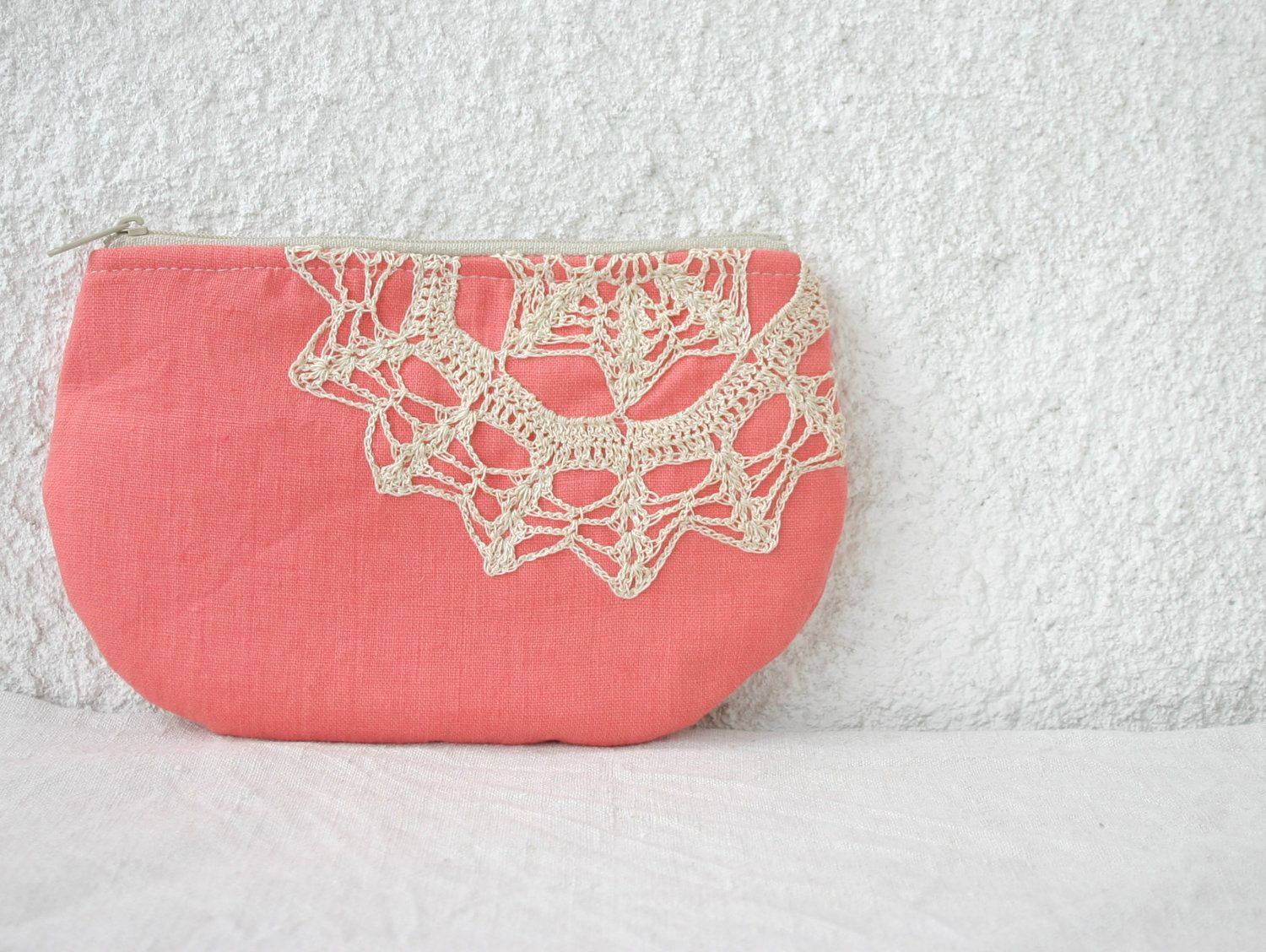 Linen and vintage doily small clutch