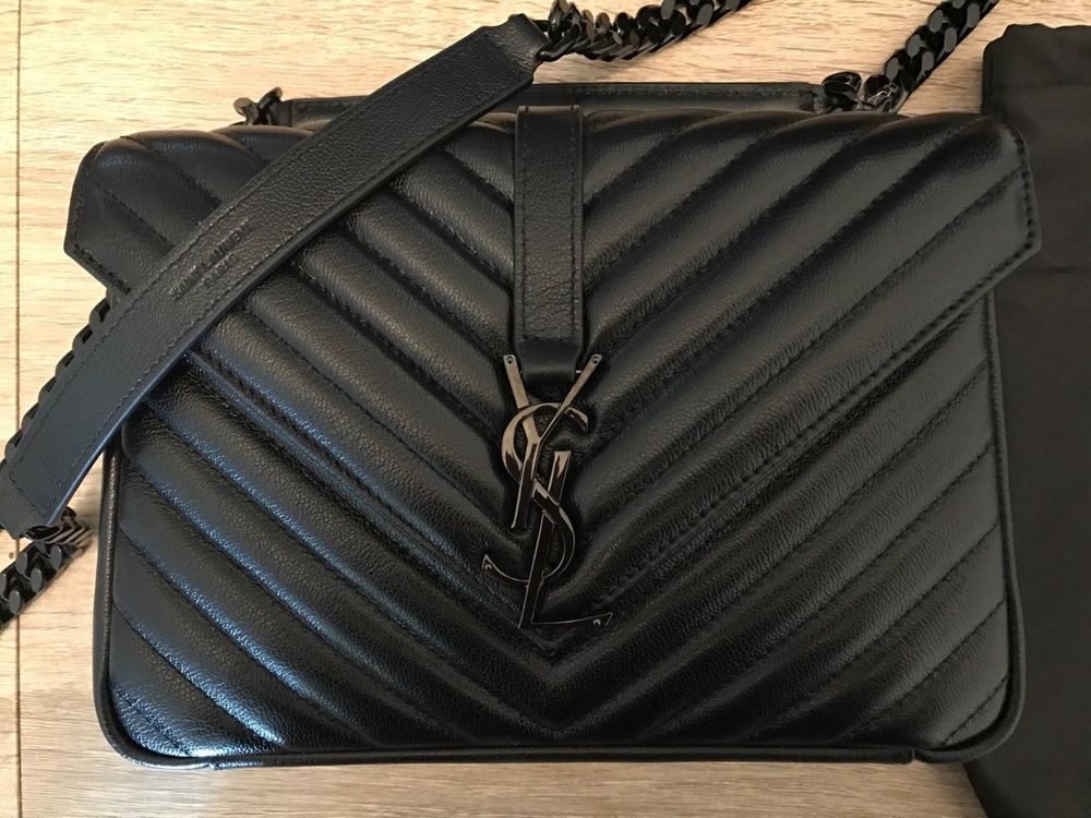 1dae11d90a YSL YVES Saint Laurent 100% Authentic College Monogram medium Bag black