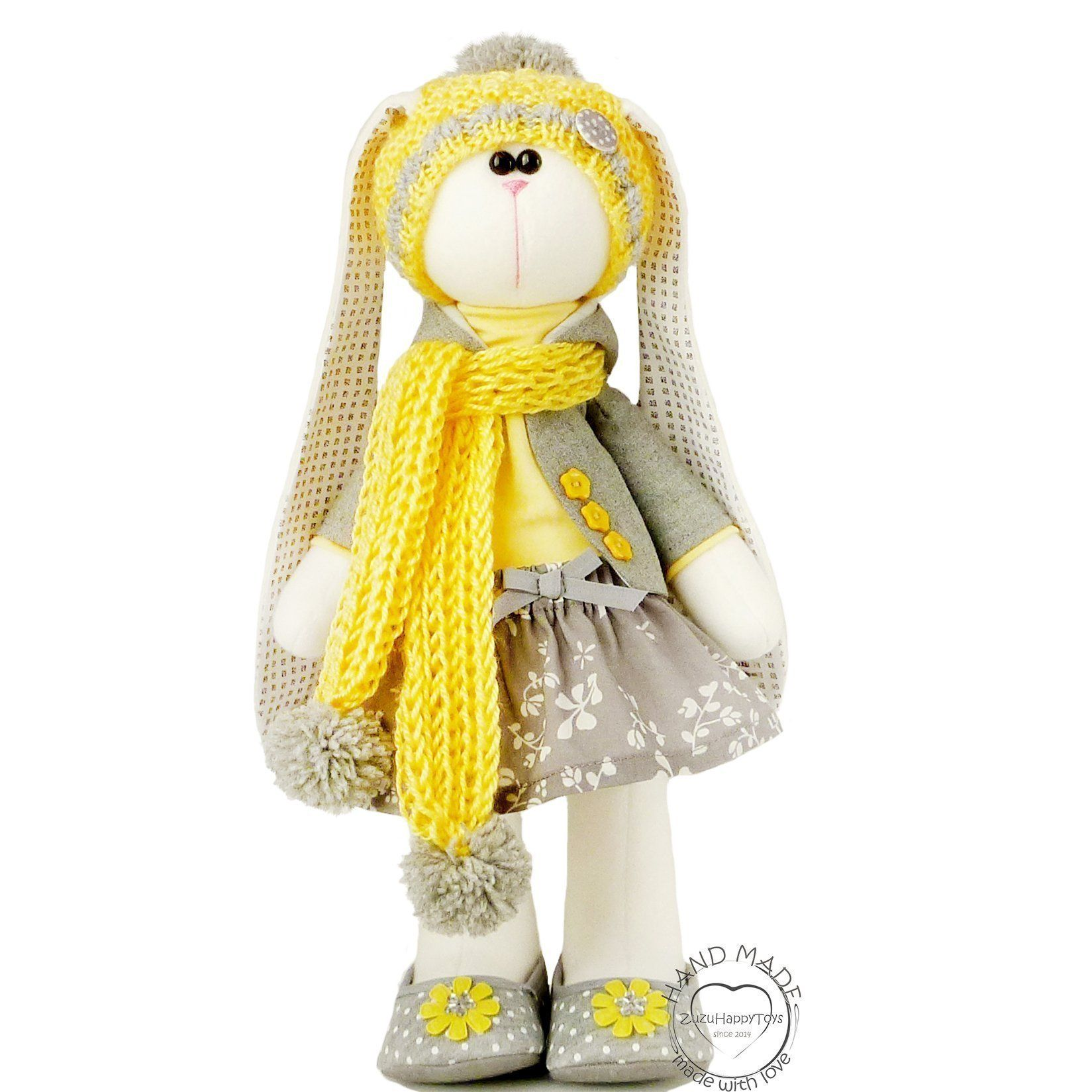 Easter bunny toy, Fabric doll bunny 14 inch for girl, Easter rabbit plush. Limited edition. Height 37 сm (14.57″) The toy is sold together with the clothes, as in the photo. Made with love and care about the quality. It is filled with polyester fiberfill (like pearl) which is child friendly. These soft toys are well suited as a toy for children, as well as baby gift or even as a home decor. Not for children under 3 years. Attention! Without shoes rabbit unstable.