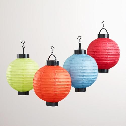One of my favorite discoveries at WorldMarket.com: Multicolored Battery-Operated Paper Lanterns, Set of 4