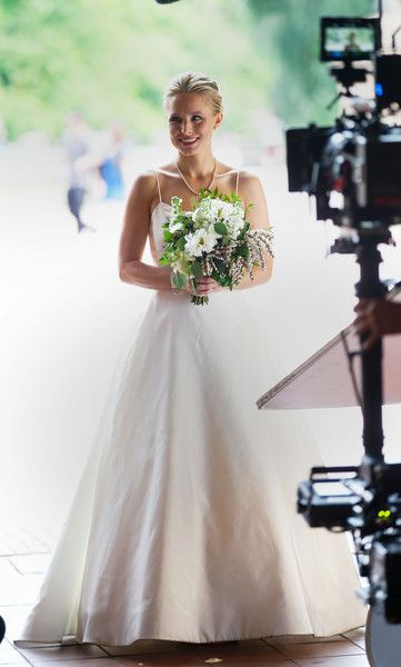 Kristen Bell Photos Photos Kristen Bell Rocks A Wedding Dress While Filming Like Father Wedding Dresses Strapless Wedding Dress Wedding