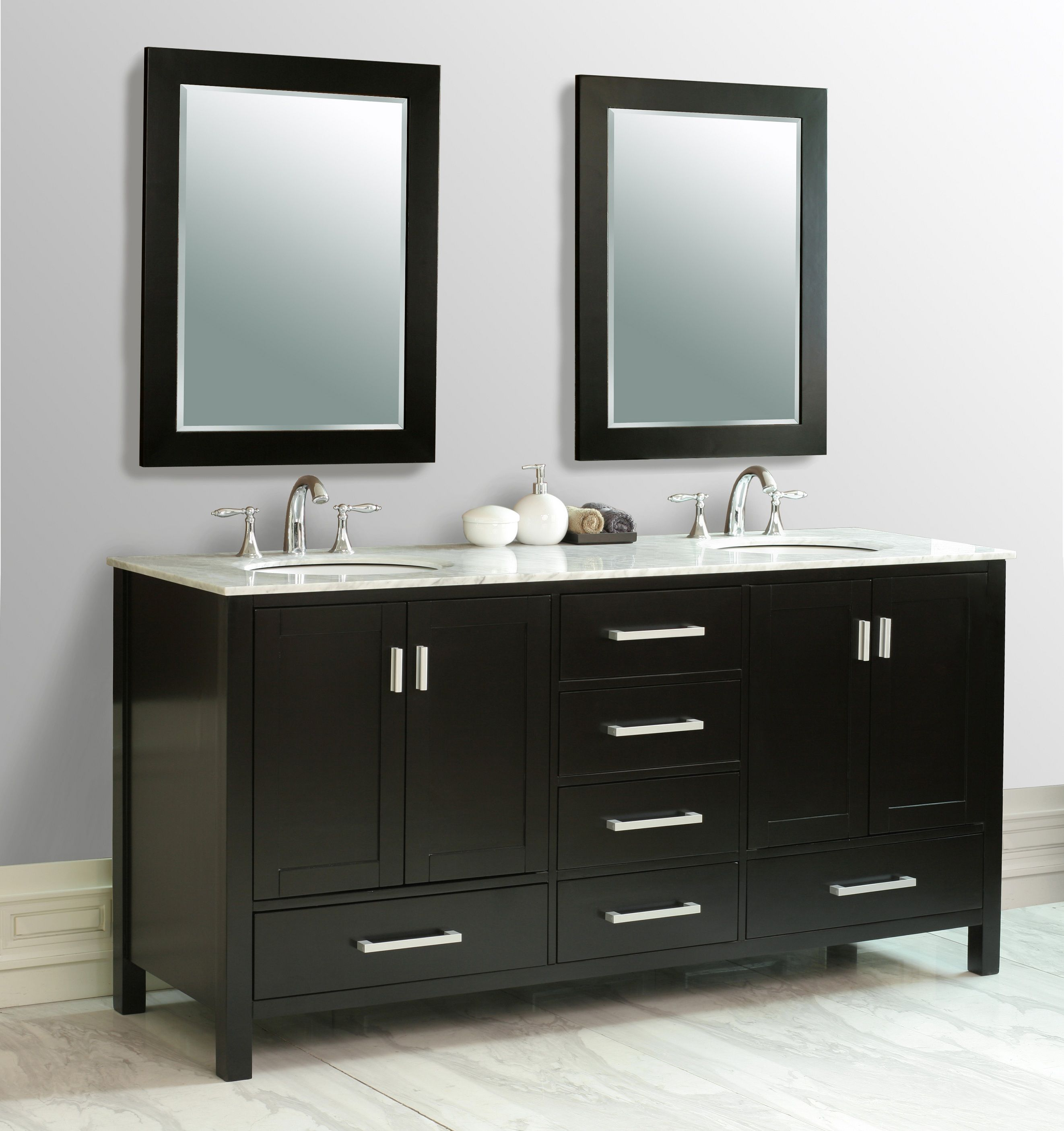 Pics Of Malibu inch Double Sink Vanity Carrera Marble Top