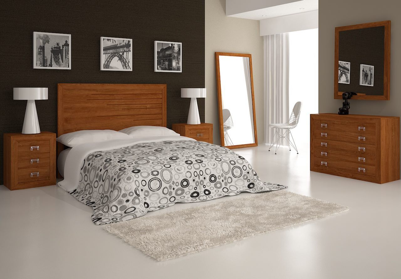 Que os parece este modelo de dormitorio de matrimonio en for Muebles color cerezo