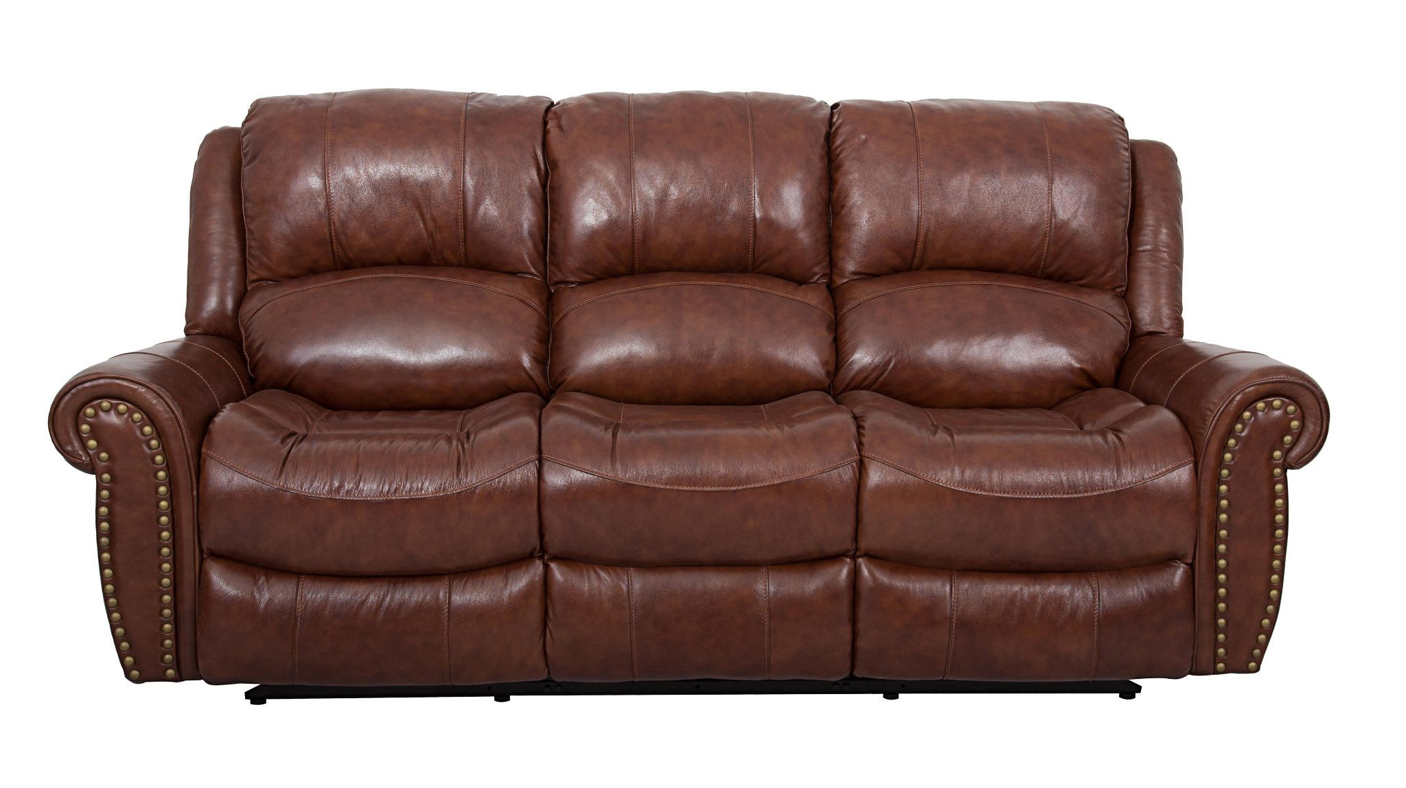 Sofa Pillows Chestnut Nailhead Reclining Sofa and Loveseat Top Grain Genuine Leather Matching Glider Recliner Available