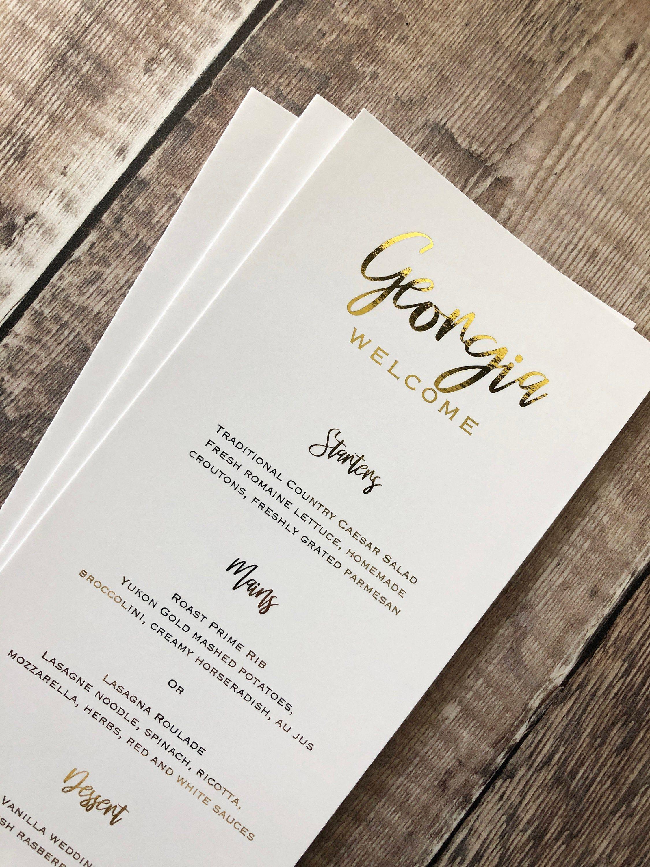 personalised gold foil guest name menus individual