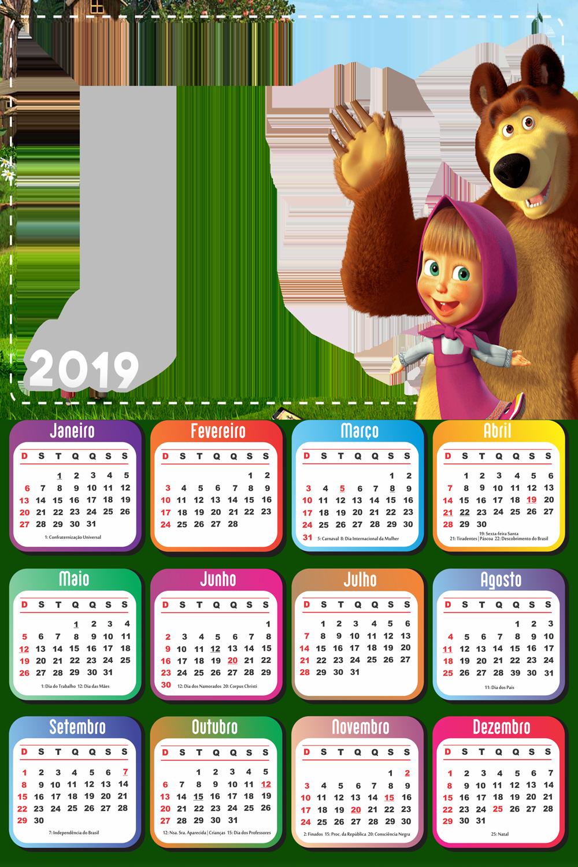 Calendario 2019 Masha E O Urso Desenho Imagem Legal Masha E O