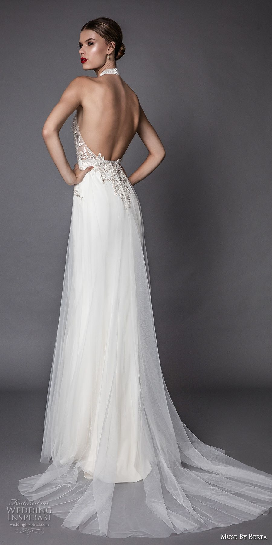 muse berta fall 2017 bridal sleeveless halter neck sheer heavily  embroidered bodice elegant sexy modified a line wedding dress open low back  sweep train ... 8832af22e