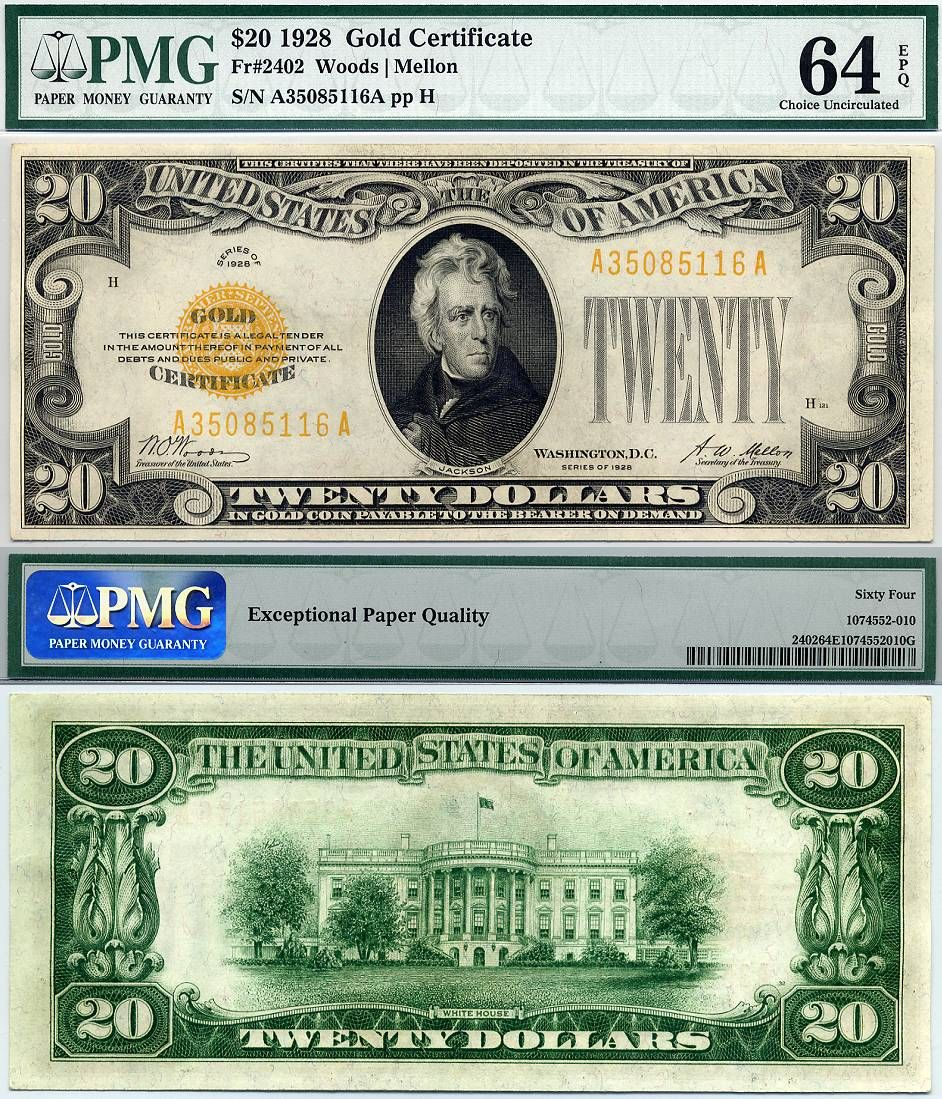 Gold Certificate Currency 1928 20 Gold Certificate Fr 2402 Pmg