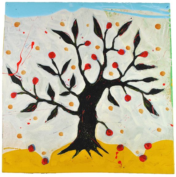 "John Randall Nelson, ""Orchard Sun"", Mixed Media On Panel, 24 x 24 x 1.5 inches"