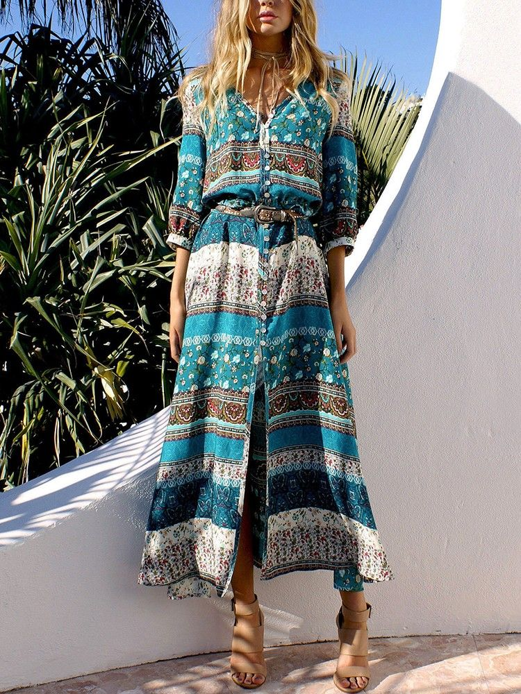 c3795f3fe5 Shop Maxi Dresses Ethnic Style Printed Bandage Boho Maxi Dress ...