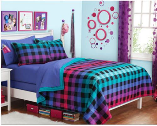 Rainbow Plaid Teen Girls Twin Single Comforter 6pc Bed in A Bag New | eBay
