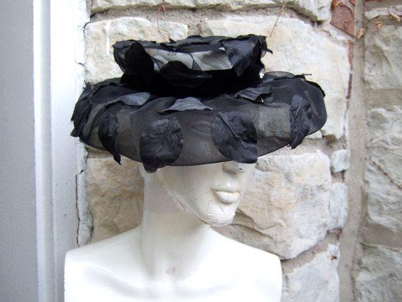 SCHIAPARELLI Black Leaf Tulle Hat c 1950