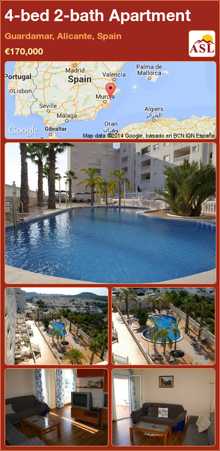 4-bed 2-bath Apartment in Guardamar, Alicante, Spain ►€170,000 #PropertyForSaleInSpain