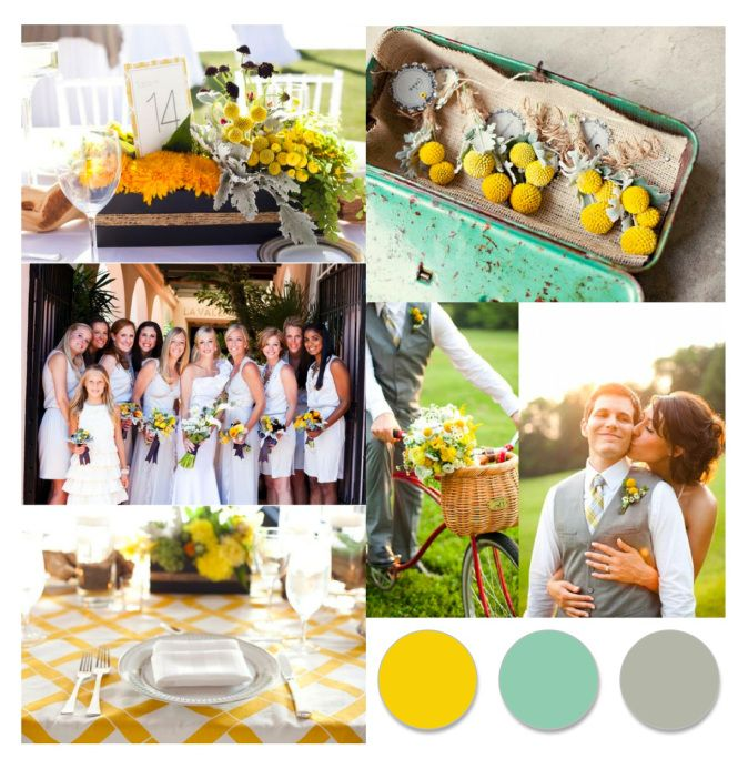 Seafoam Green Wedding Ideas: Marigold, Seafoam Green, Dove Gray