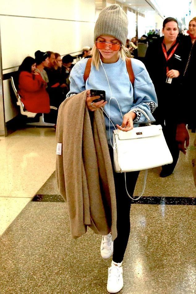 19f197bf324 Sofia Richie wearing Hermes Blanc White Kelly Bag