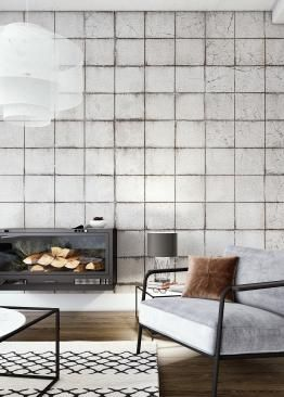 Stoere woonkamer met fotobehang van betontegels | Roomit.nl - Roomit ...