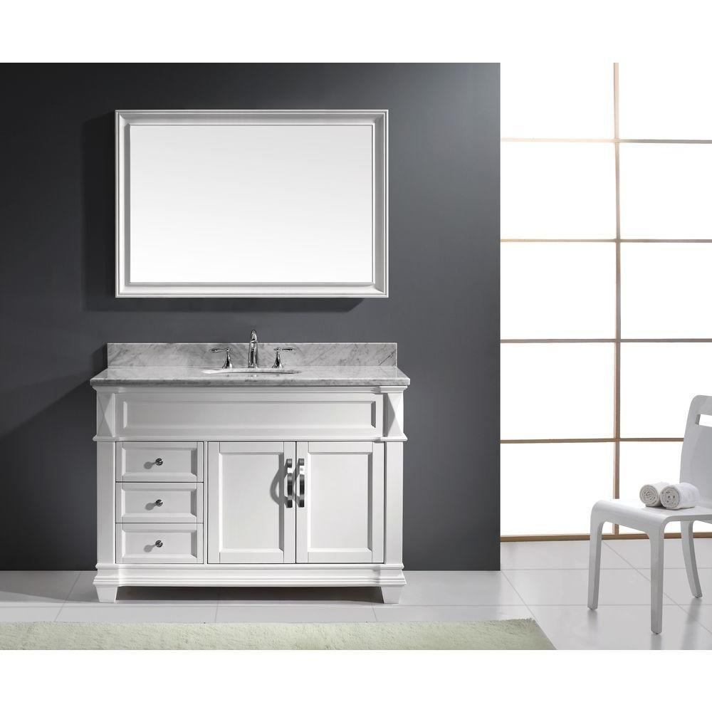Virtu USA Victoria 48 in. W x 36 in. H Vanity with Marble Vanity Top ...