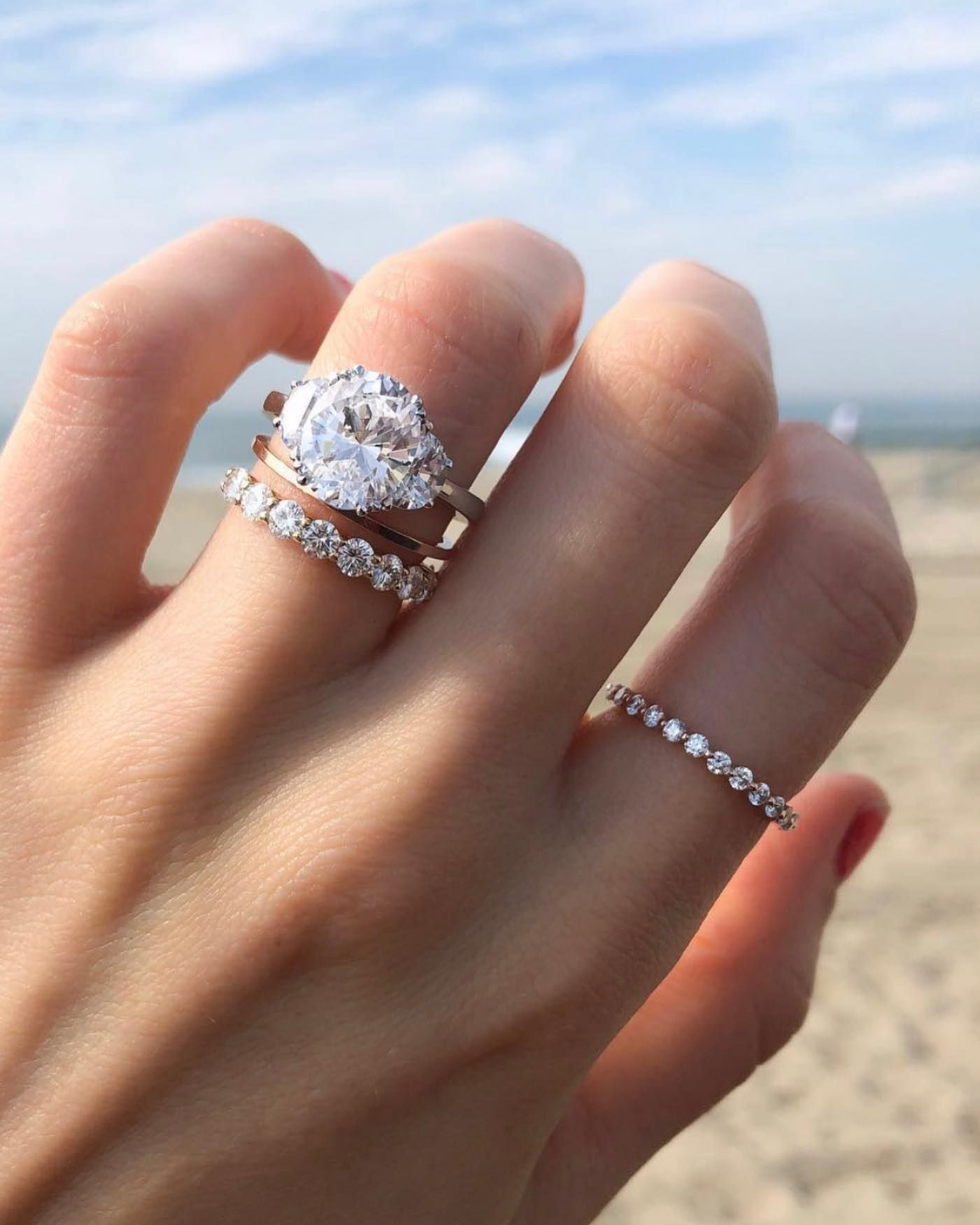 Create Some Space Between Your Engagement Ring Wedding Band Wit Round Diamond Engagement Rings Round Diamond Engagement Rings Solitaire Jewelry Rings Diamond
