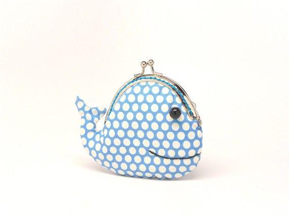 Cute Baby Boy Blue Whale Ocean Coin   Makeup Purse