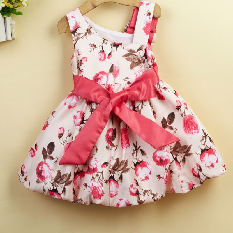 6954e159a245 Tong Skirt Dress Oblique Flower Decoration Princess Dress Girls Flower Dress…  Baby Dresses