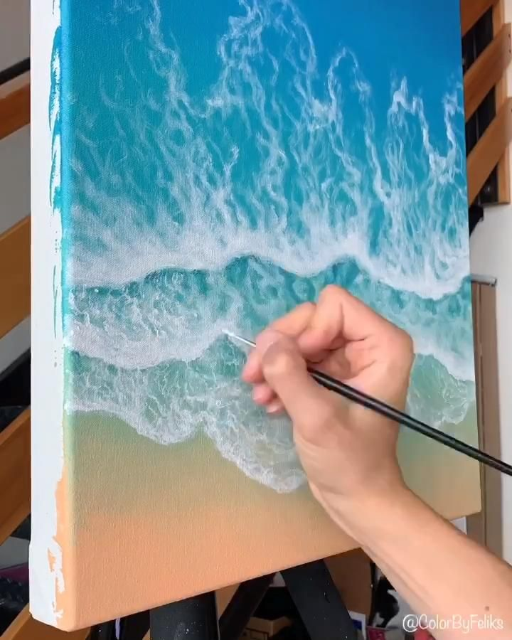 Wave Acrylic Painting from Above 🌊
