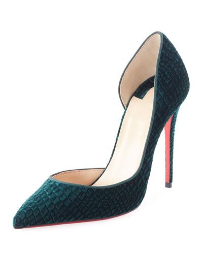 X3r36 Christian Louboutin Iriza Embossed Velvet 100mm Red Sole Pump