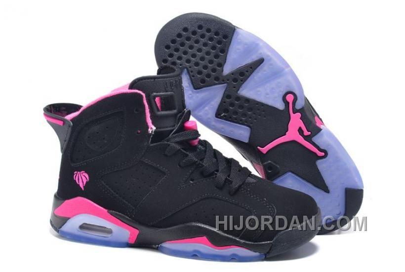 Air JD 6 Retro GS Black Pink For Sale In Women Size EJyAW