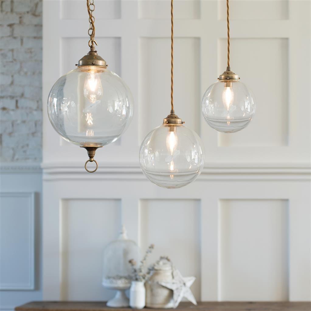 Holborn glass pendant light in antiqued brass new kitchen