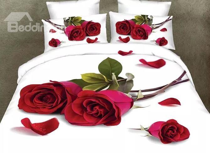 Romantic Red Rose And Petals Design 4 Piece Polyester Duvet Cover Sets 3d Bedding Sets 3d Bedding Queen Bedding Sets