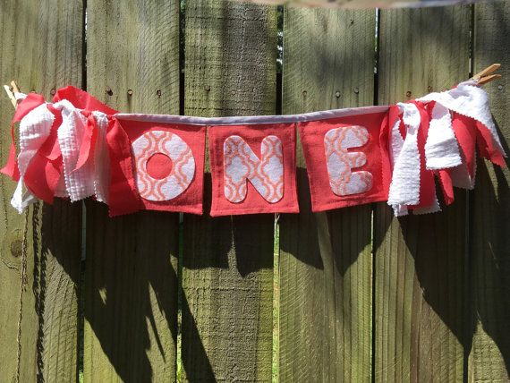 Girl's first birthday banner Coral and by FourLittleChickadees