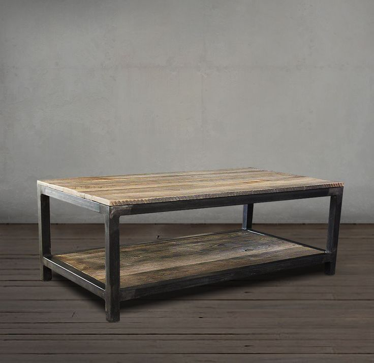 Reclaimed Wood And Metal Coffee Table Two Tier Coffee