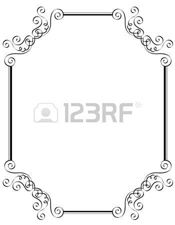 Blanco y negro ornamental Frontera marco especialmente para la boda ...