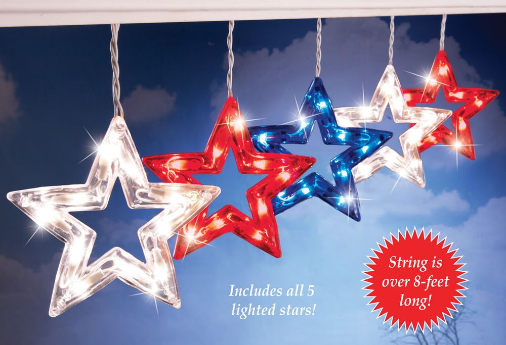 Collections Etc Patriotic Hanging Star String Lights | Outdoor ...