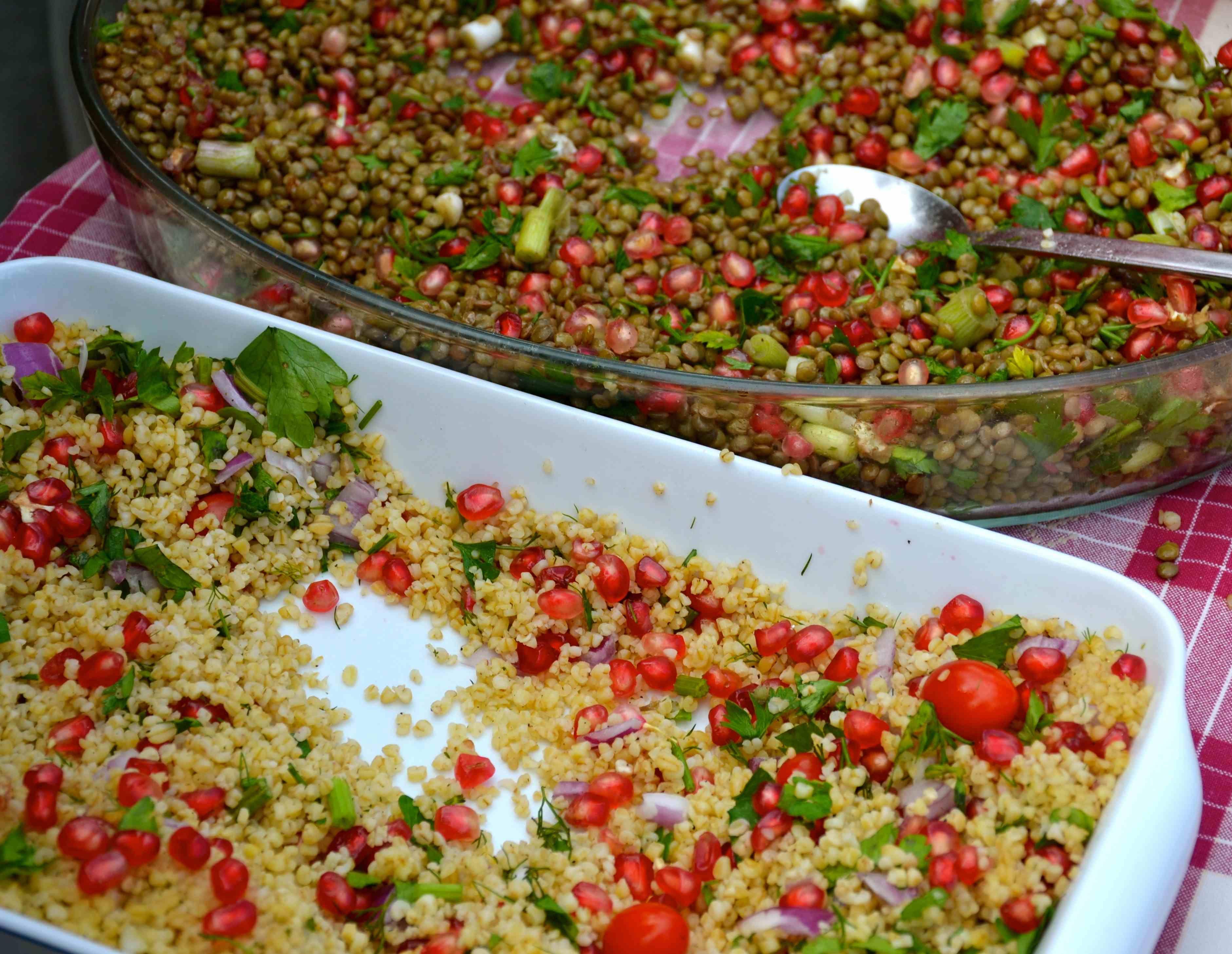 Salads with pomegranates