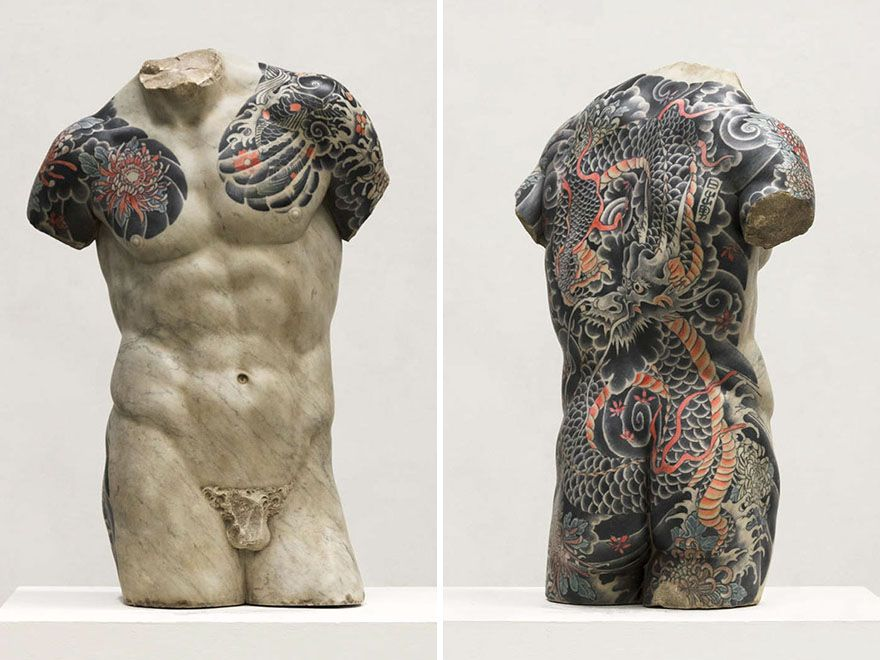 Italian Artist Gives Classical Sculptures Criminal Tattoos, Makes Them Look Totally Badass