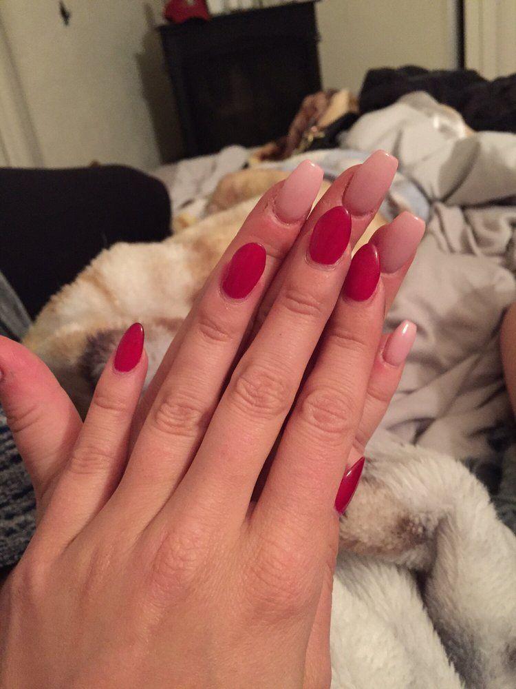 Nj Nails Spa - Novato, CA, United States. My red acrylic gel polish ...