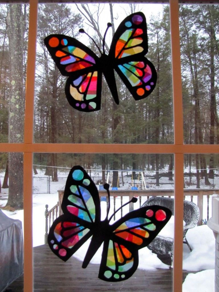 Stained glass tissue paper butterflies things to do for Paper art butterfly
