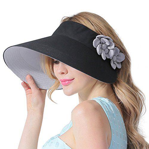 0098edfd9cf CACUSS Women s Summer Cotton Sun Hat Wide Brim Visor Adju...