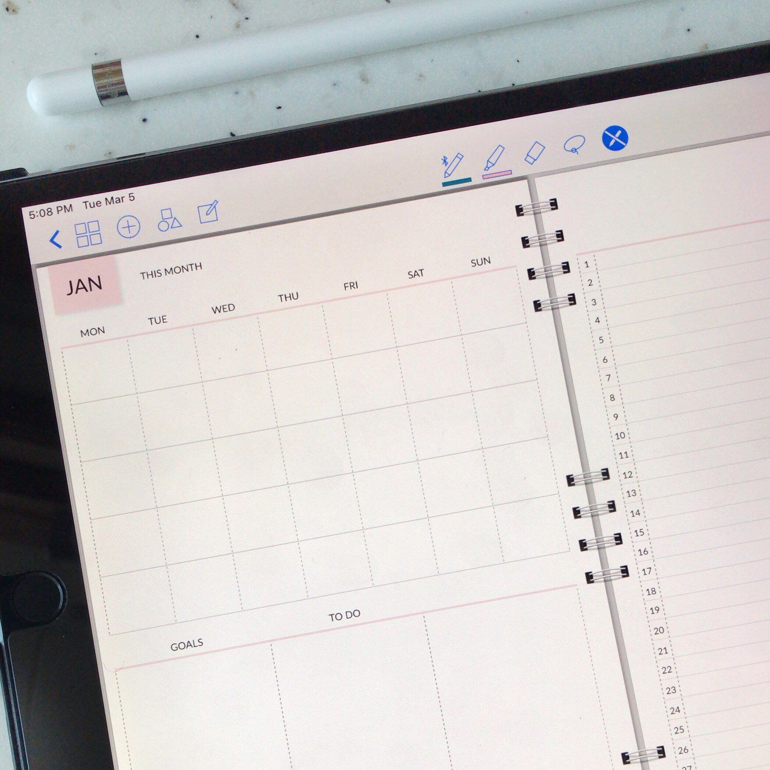 Digital Planner Notebook Grid Lined Notebook Undated Monthly