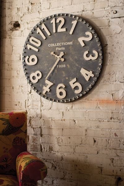 black and white wooden wall clock  $129.00