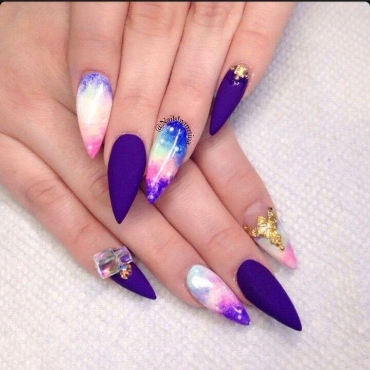 Galaxy & Matte Purple Stiletto Acrylic Nails w/ Rhinestones & Gold ...