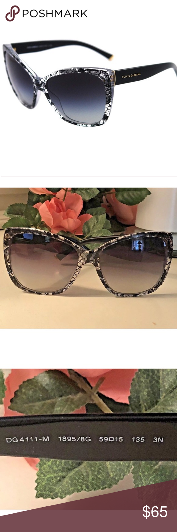 a115ec116651 Dolce & Gabbana GUC Black Lace Sunglasses DG 4111 These absolutely  stunning Authentic Dolce &