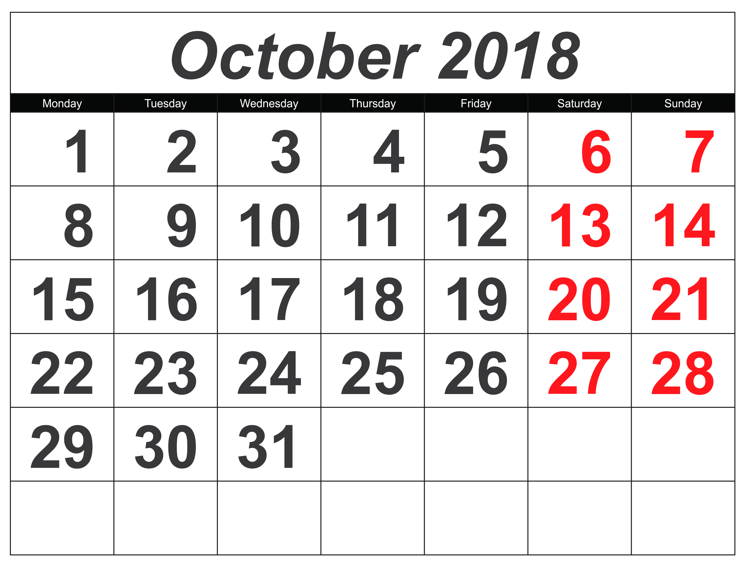 Excel October Printable Calendar Template