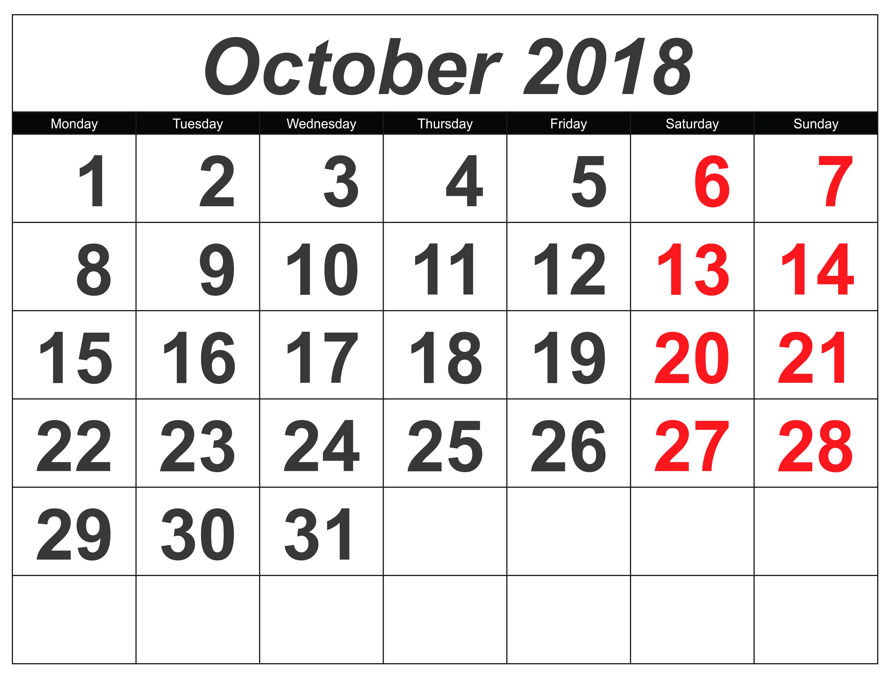 October Excel Monday Start Calendar