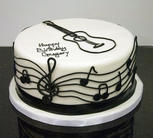black white guitar cake Guitar cake Music note cake and Cake