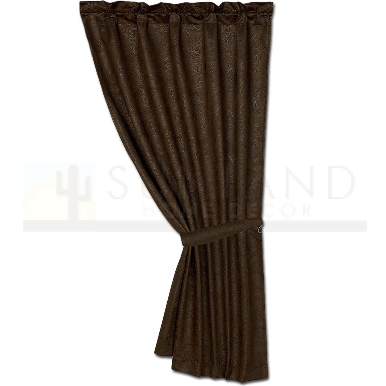 48x84 Faux Tooled Leather Curtain With Tieback Leather Tooling Curtain Tie Backs Curtains