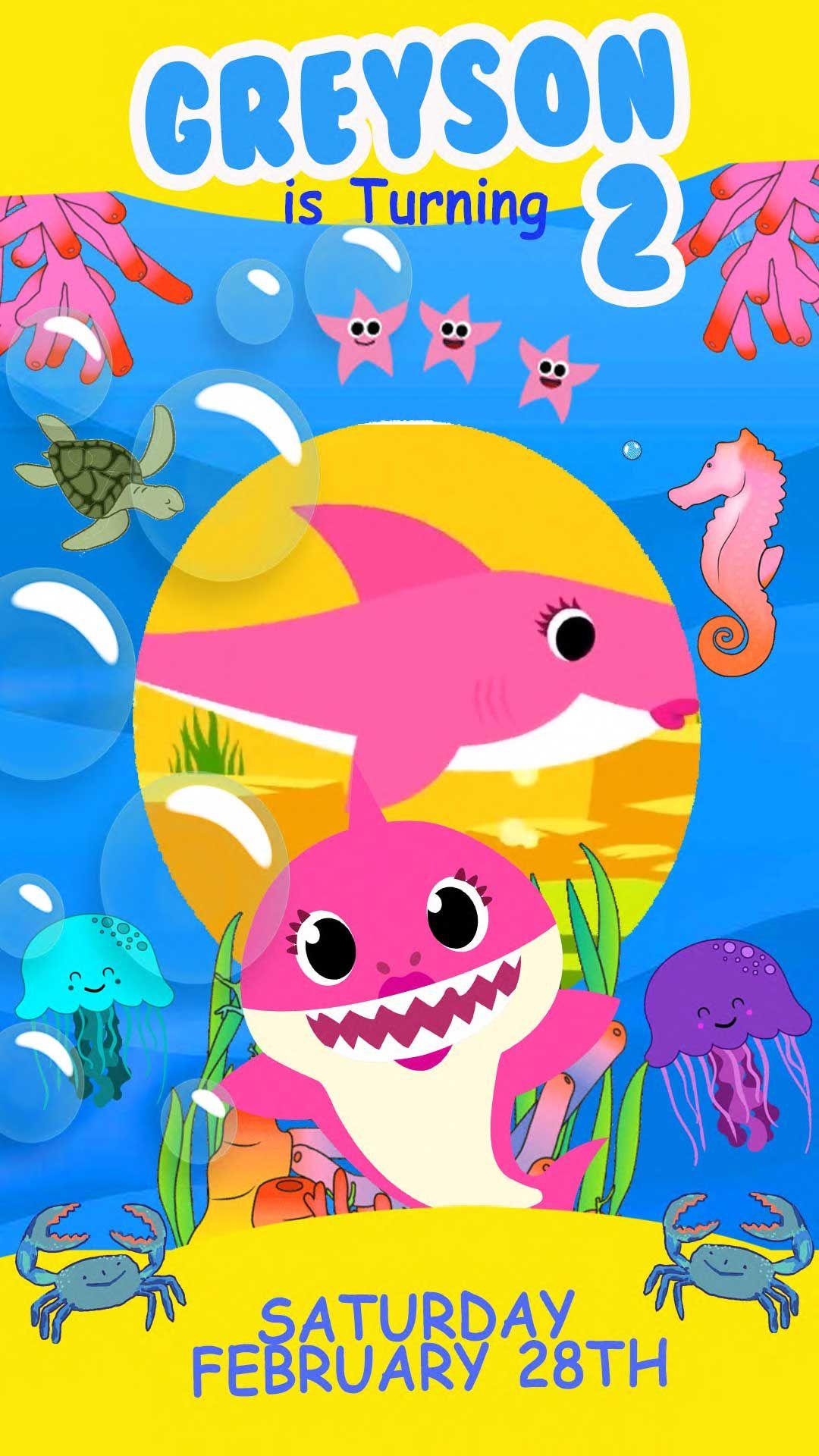 Baby Shark Animated Video Birthday Invitation