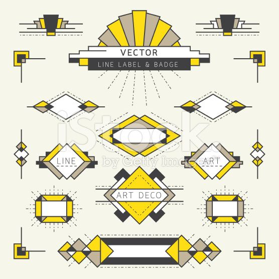 Art Deco Style Line and Geometric Labels and Badges royalty-free stock vector art